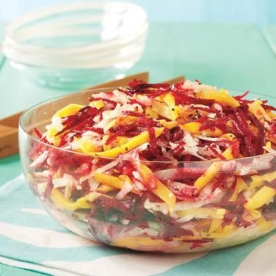 We want to be healthy in 2016, but we're a little sick of the greens. That's why we love this no-lettuce mango, beet, and jicama salad from All You! Dinner (and lunch tomorrow) is served!