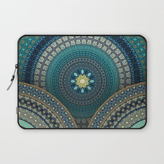 Colorful abstract ethnic floral mandala pattern design Laptop Sleeve