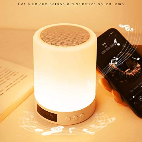 Smart Touch Lamp Rechargeable Table Lamp Dimmable Led Night Light With Wireless Bluetooth Speaker And Alarm Clock Screen In 2020 Touch Lamp Wireless Speakers Bluetooth
