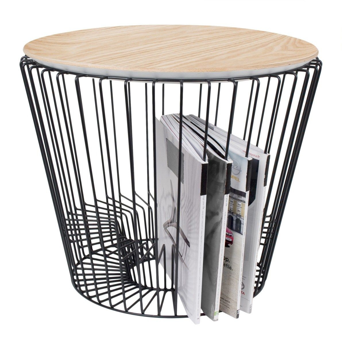 Round Side Table With Integrated Magazine Rack Comingb Side Table Furniture Side Tables Decor Magazine
