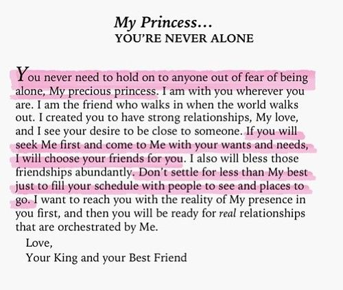 To My Princess Youre Never Alone Letters From The Father God