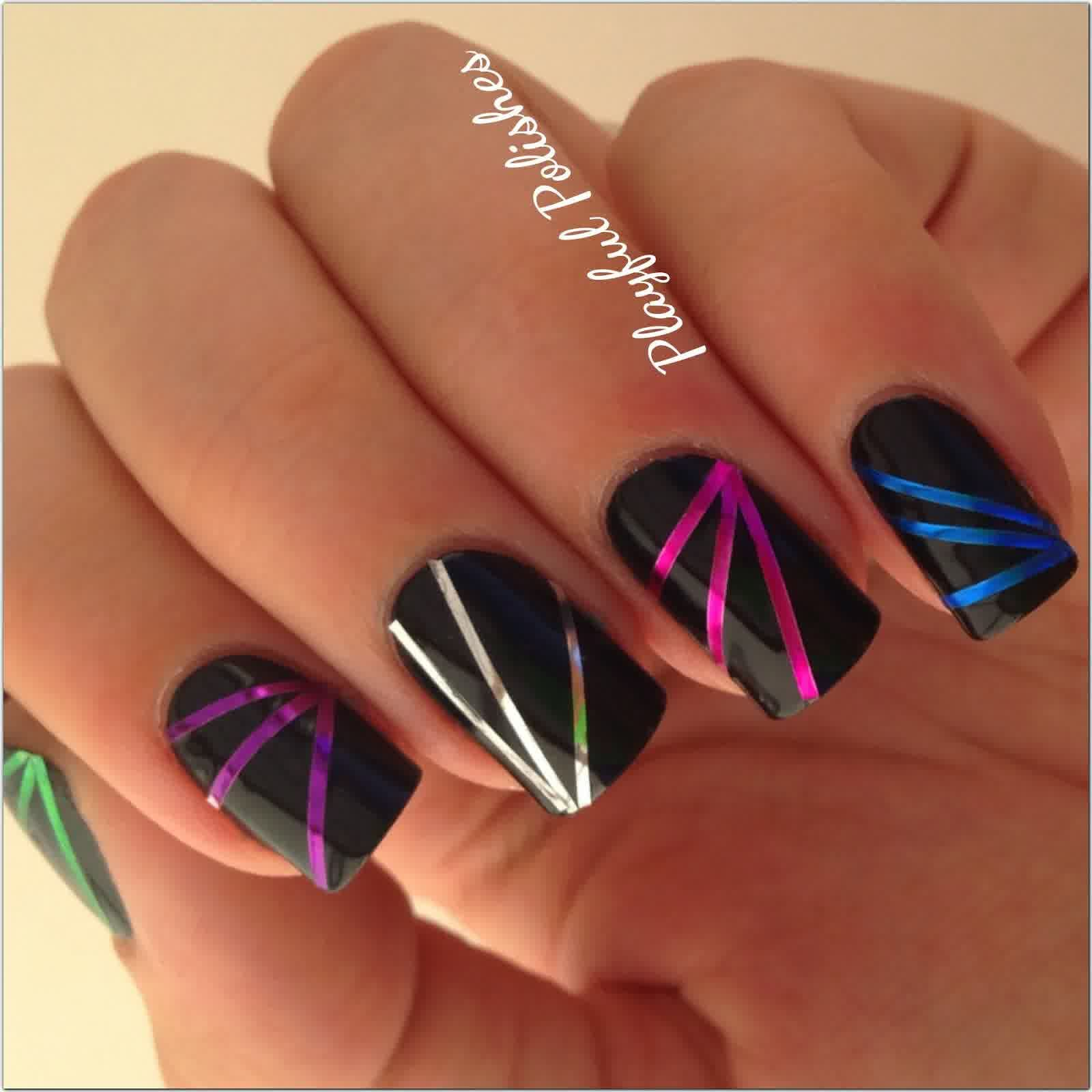 Black Striped Nail Design With Purple Blue Silver Tape Nails To