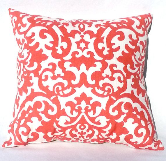 Coral Throw Pillow Dorm Decor 14x14 Pillow by ADifferentSun