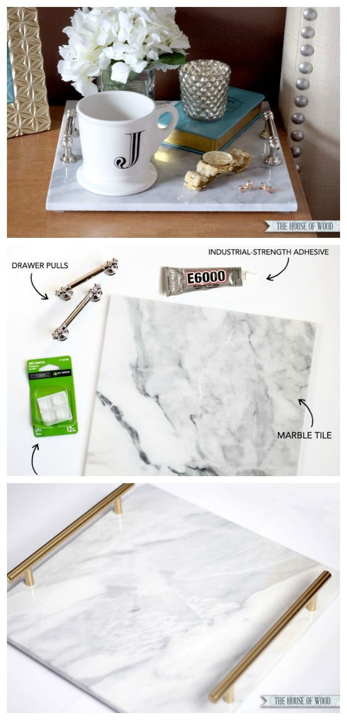 Diy marble tray perfect for organizing jewelry as a bedside table