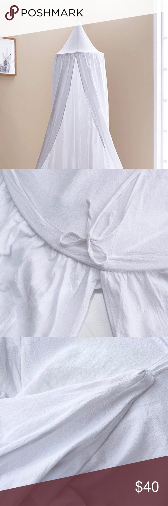 Photo of Kids Bed Canopy • White Canvas White canvas bed canopy. Thick, but soft durabl…