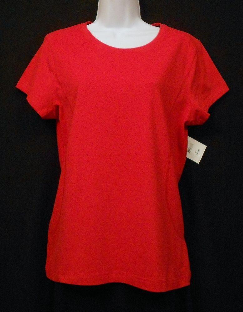 Danskin Shirt Top Red Sz L 95% Cotton 5% Spandex Solid Short Slv Yoga Fitness #Danskin