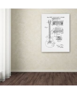 Claire Doherty '1955 Mccarty Gibson Guitar Patent White' Canvas Art - 24 x 32 - Multi #gibsonguitars
