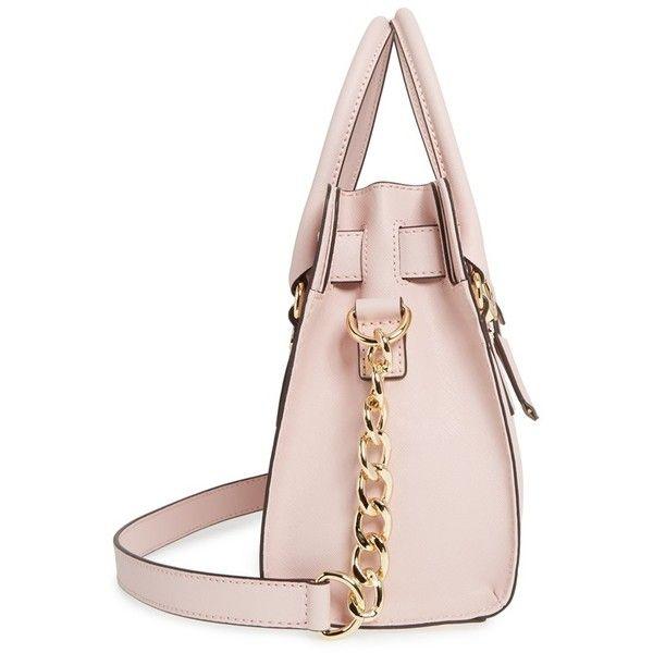 MICHAEL Michael Kors 'Medium Hamilton' Saffiano Leather Satchel (390 CAD) ❤ liked on Polyvore featuring bags, handbags, satchel handbags, pink bag, michael michael kors purse, satchel style handbags and pink satchel purse