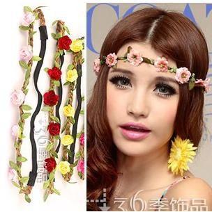 Free Shipping Bohemia Hair Band Folk Style Beach Flower Headband  Flower Hair Accessories Bride Hairband Wedding Decoration