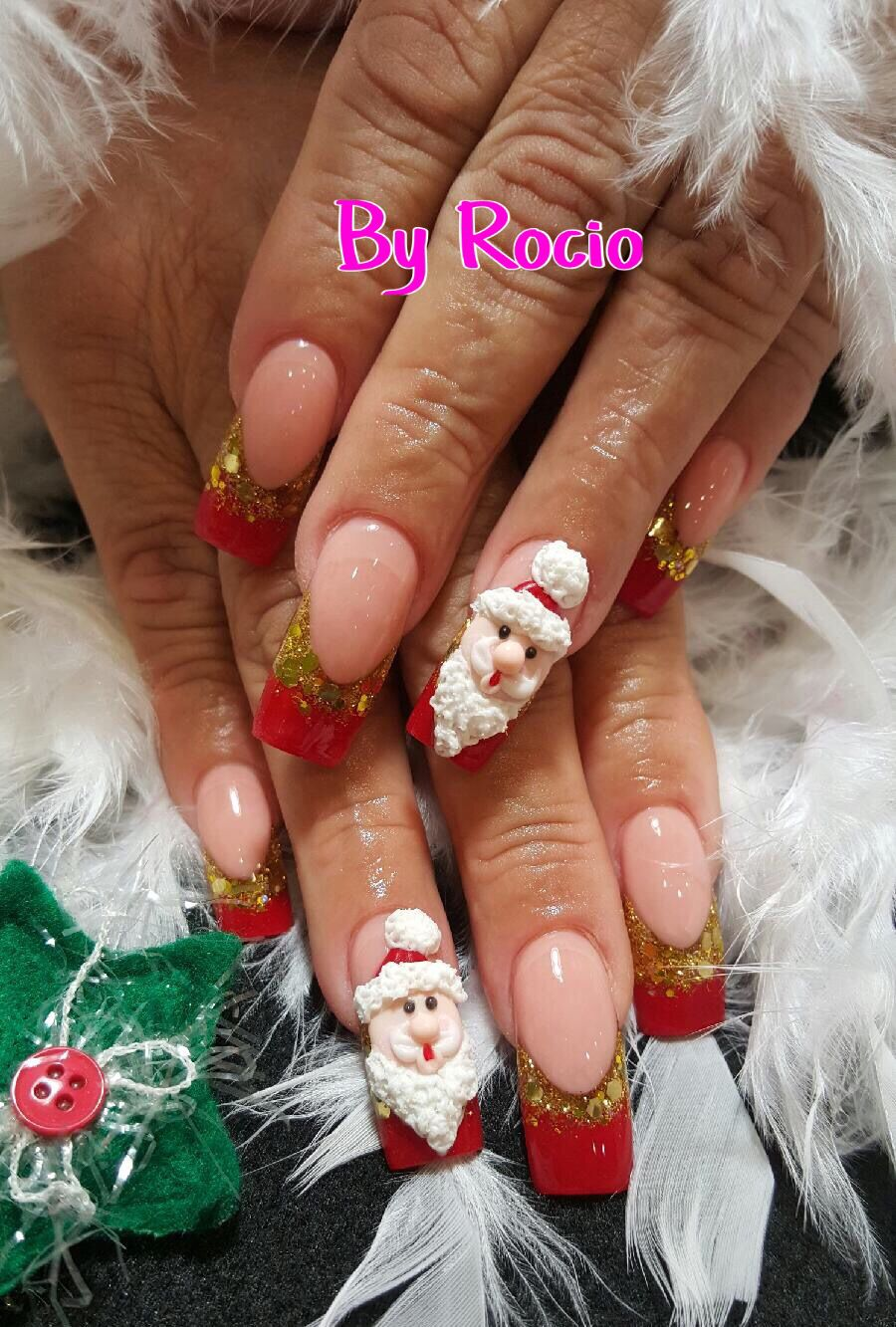 Encapsulated Nails With 3d Designs For Christmas Nail Art Pinte