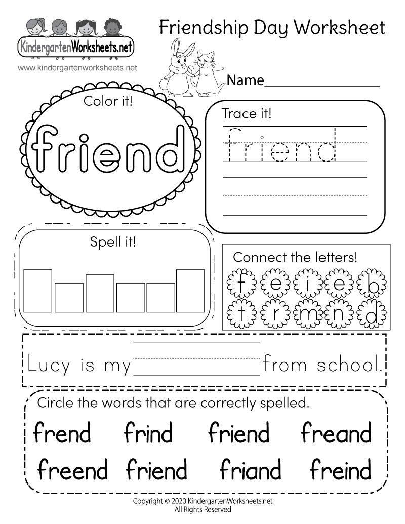 Predownload: Kindergarten Friendship Day Worksheet Friendship Printables Kindergarten Worksheets Preschool Worksheets [ 1035 x 800 Pixel ]