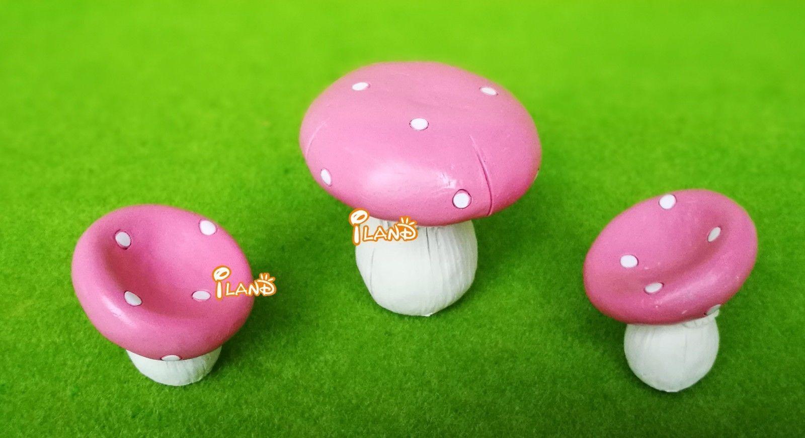 Dollhouse Miniature Pink Mushroom Table & Chair Set Fairy Garden ...