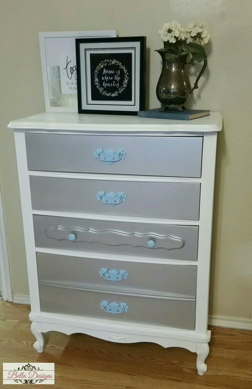 French Provincial Dresser Painted In Blue White And Silver Metallic Paint Ralph Lauren Designer Belladesigns