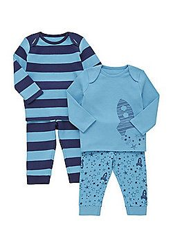 282cb8862e5a F F 2 Pack of Space Print and Striped Pyjamas - Blue