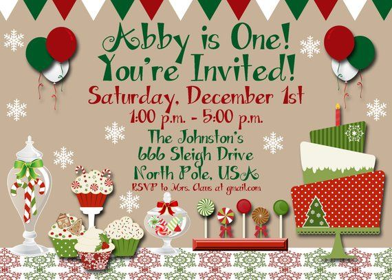 christmas birthday party invitation, handmade digital invite