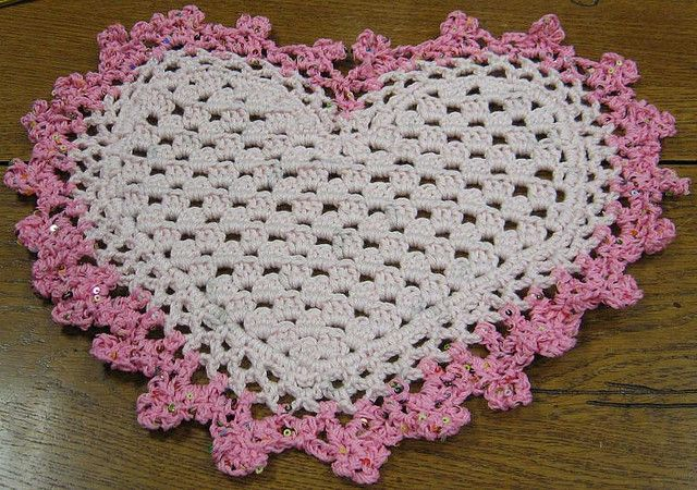Heart Coaster or Mini Doily by CrochetDoilies.com