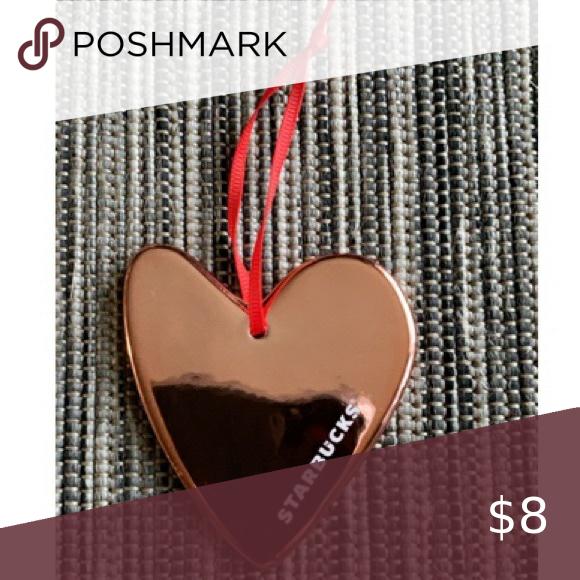 Starbucks Rose Gold Heart Christmas Ornament In 2020 Heart Christmas Ornaments Rose Gold Heart Heart Of Gold