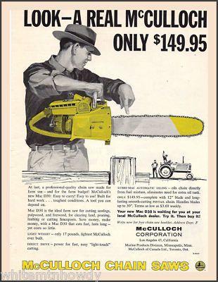 1958 McCulloch D30 Chainsaw | McCulloch Saws in 2019 | Print