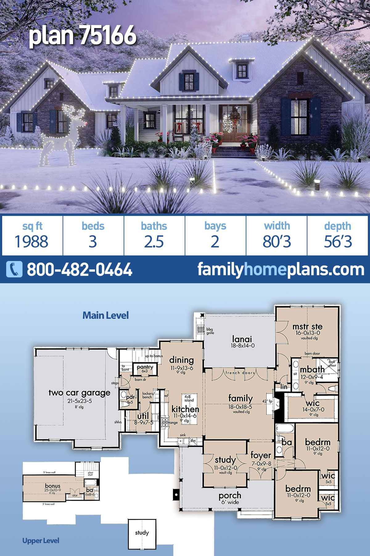 Traditional Style House Plan 75166 With 3 Bed 3 Bath 2 Car Garage House Plans Farmhouse New House Plans Family House Plans