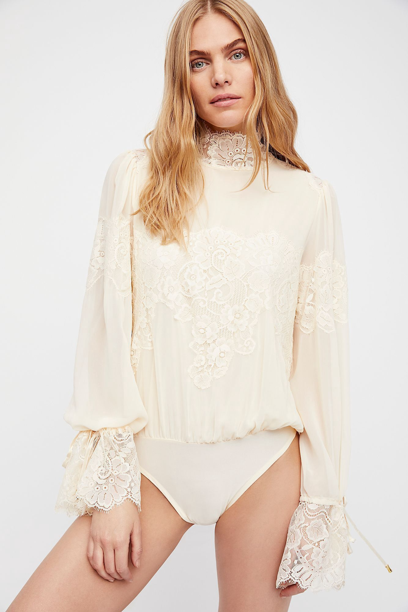 5f8ab8f5033a Free People Queen For A Day Bodysuit - Copper Rose Xs Sheer Long Sleeve  Bodysuit