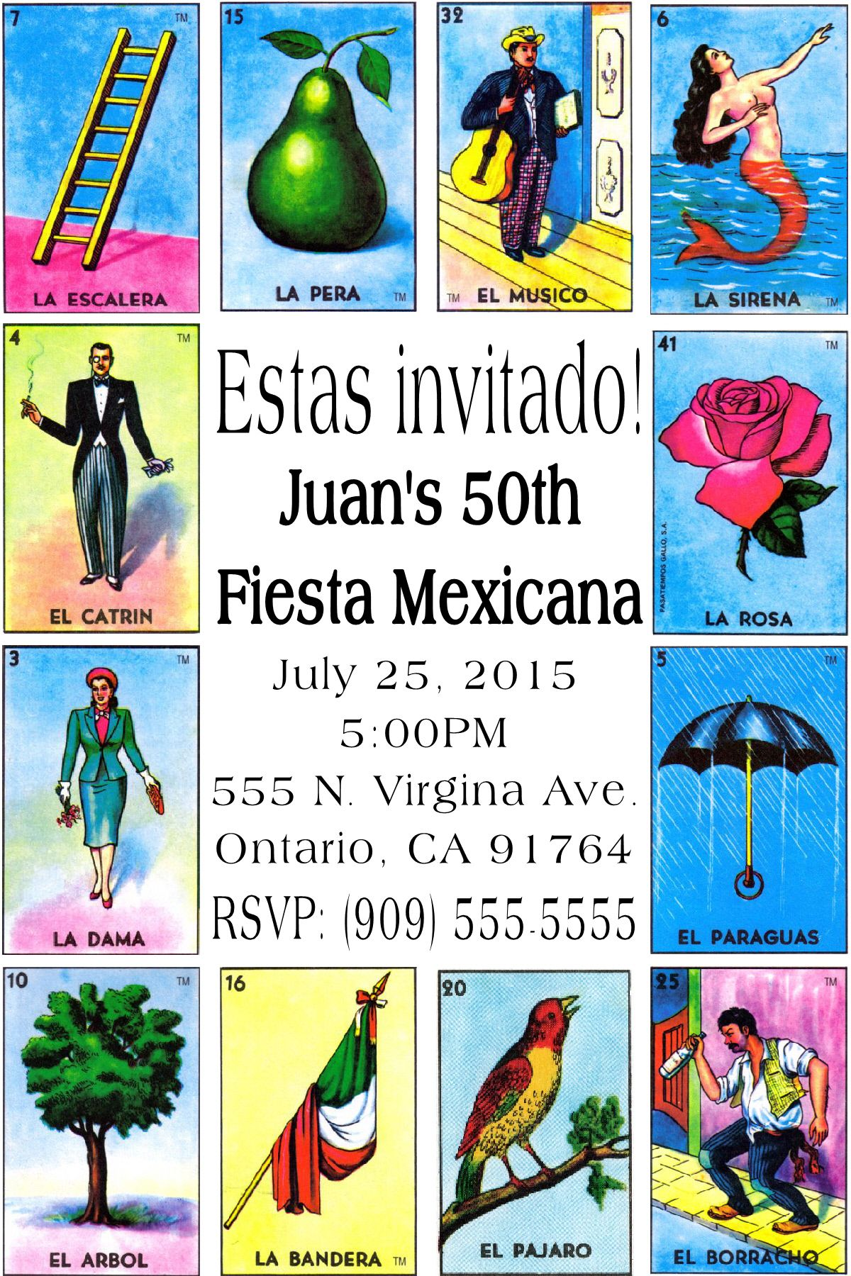 Loteria Birthday Invitation- Click on the image twice to place ...