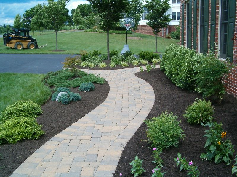 custom paver walk designs and building in maryland divine landscaping builds and designs paver walkways for commercial and residential customers in and - Paver Walkway Design Ideas
