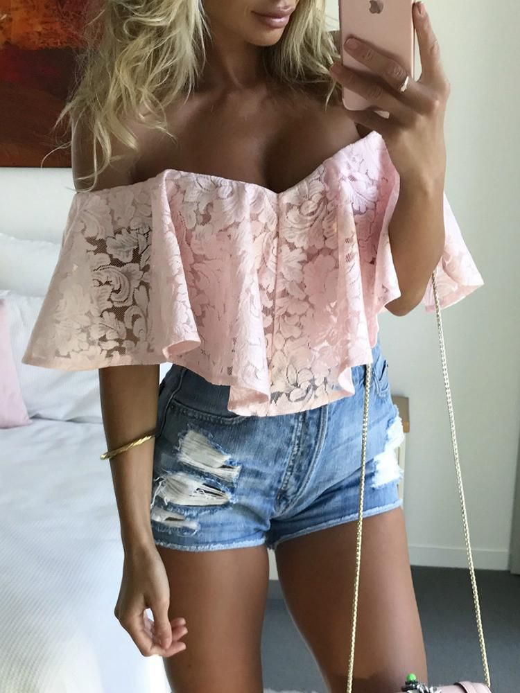 Fold-over Ruffle Off Shoulder Lace Casual Romper