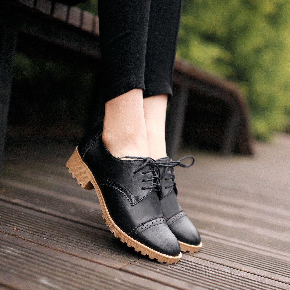 Lace Up Oxfords Women Casual Shoes  Work shoes women, Dress shoes