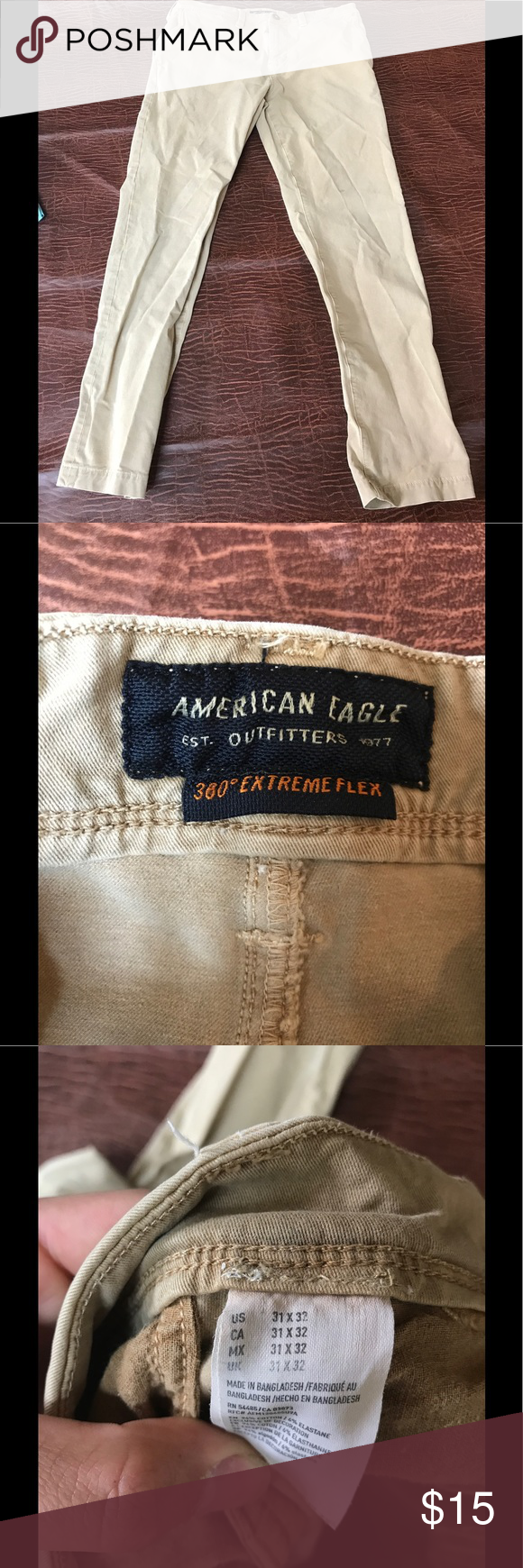 Men's khaki pants American Eagle men's khaki pants.   Small stain on front left pant above the knee.  Small stain back let below pocket.  See pictures please American Eagle Outfitters Pants Chinos & Khakis