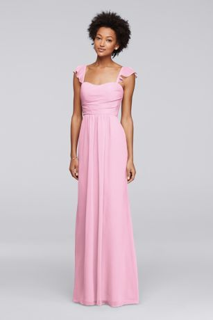 Flutter cap sleeves frame the sweetheart neckline on this long chiffon bridesmaid dress. The sleeves transform into a lovely ruffle at the V-back.  Polyester  Back zipper; fully lined  Dry clean  Imported