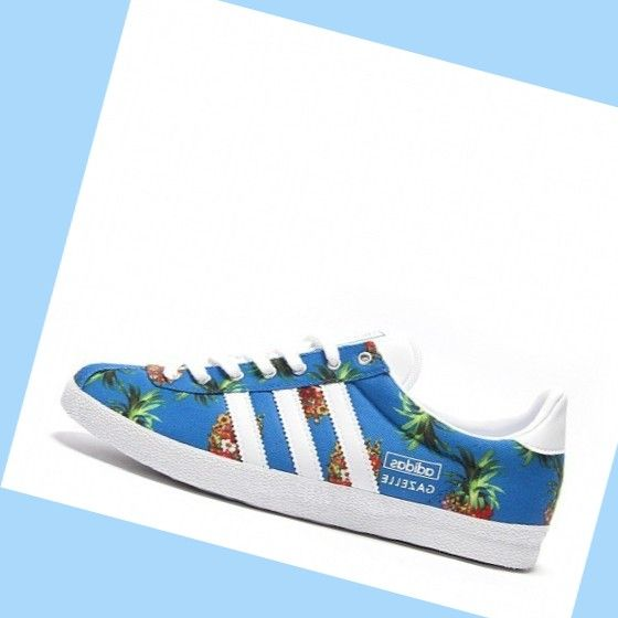 buy online a4ffb 36e53 Pineapple Print BlueWhite Adidas Gazelle Og Womens Shoes,FASHION STYLE!