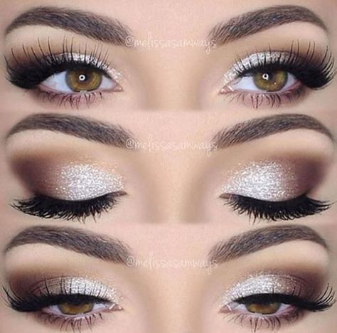 Brown Silver. Smoky eyes with sparkle. - Best Pinterest Blog -  Brown Silver. Smoky eyes with spark