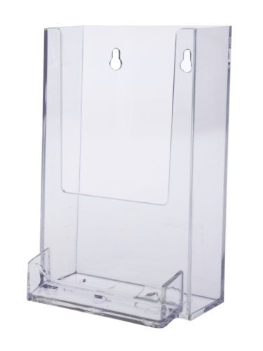 Tall boy 4 inch brochure holder wall mount with business card holder tall boy 4 inch brochure holder wall mount reheart Choice Image