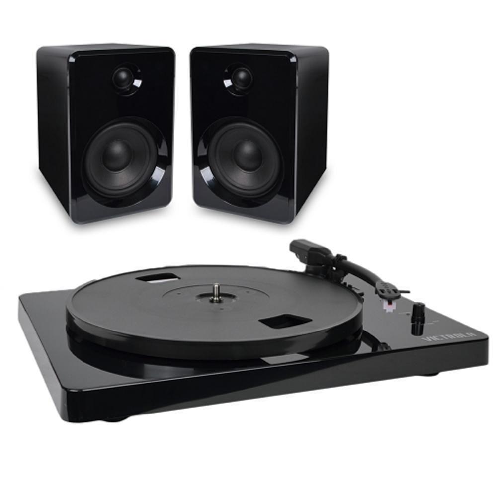 Victrola Modern 3 Speed Bluetooth Turntable with 50 Watt Speakers Black