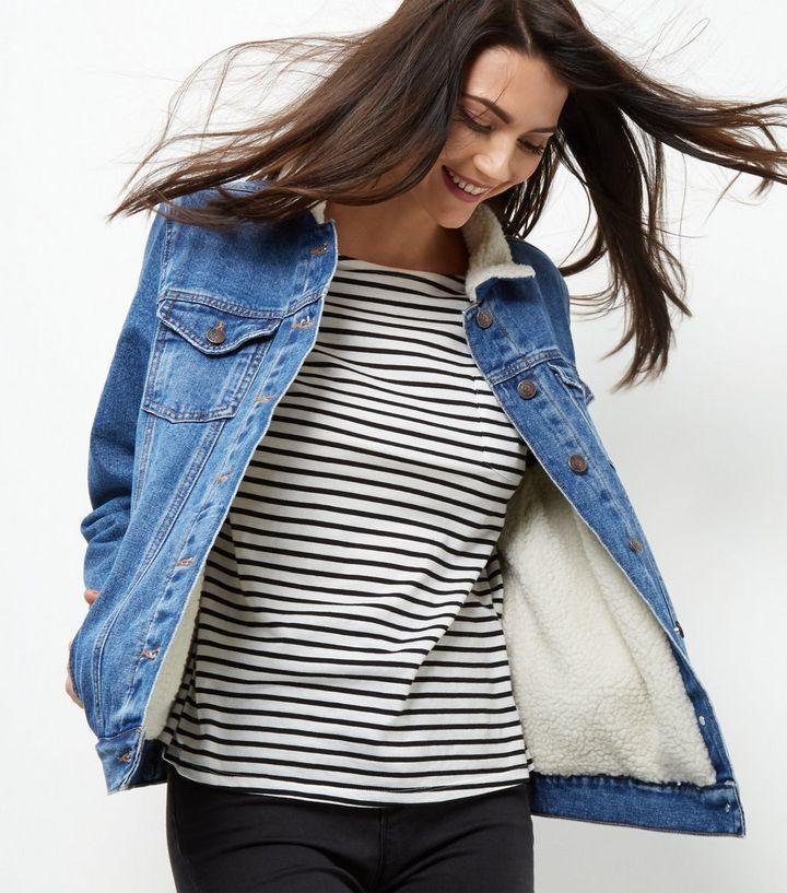 Kaufe jetzt Blaue Jeansjacke mit Borgfutter . Entdecke die neuesten Trends  von New Look. 776db5bd48