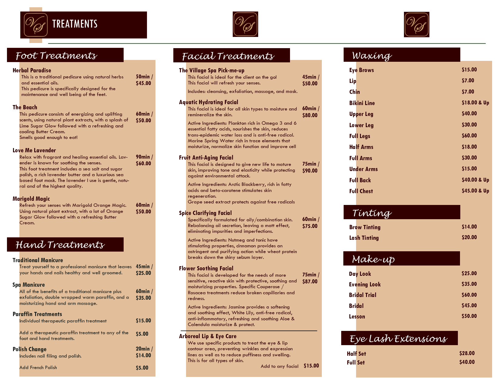 Facial Spa Brochure  Villagespa Brochure Price List Pub