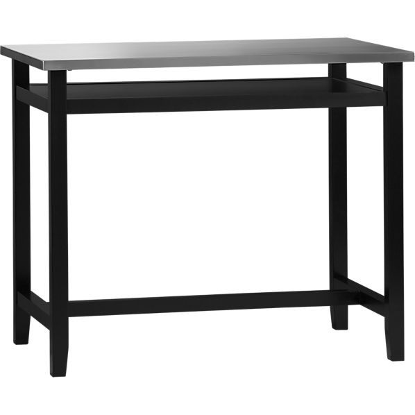 Belmont Black Work Table With Stainless Steel Top In Dining Tables Crate And Barrel High Top Tables Pub Table Sets High Top Table Kitchen