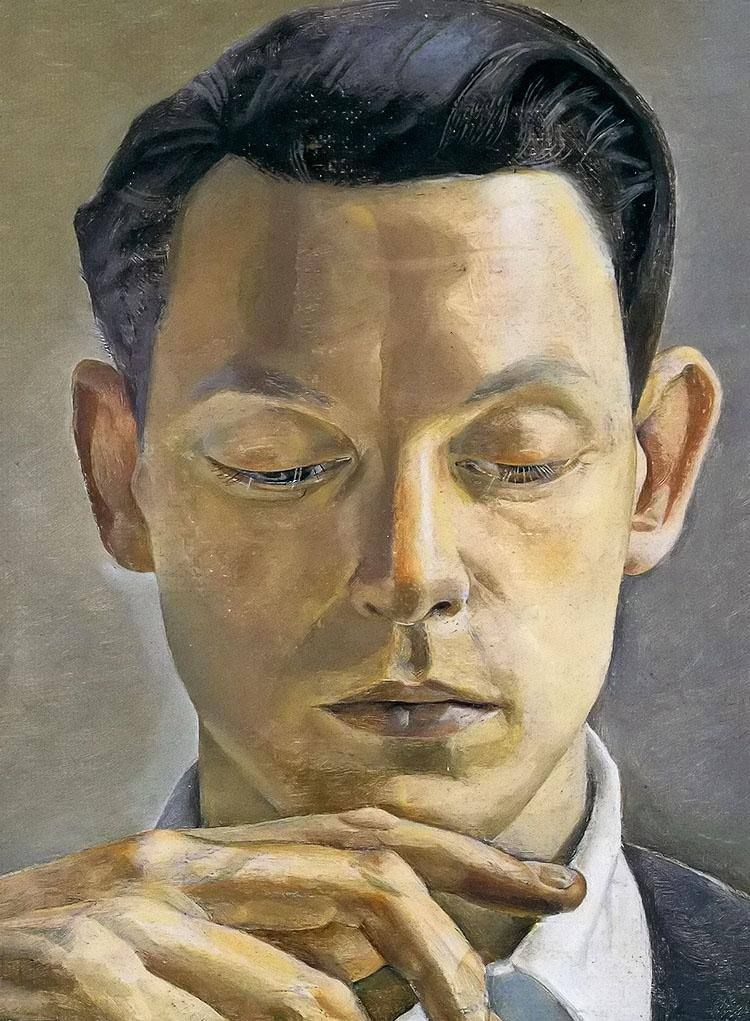 Lucian Freud (British, 1922-2011), A Writer, 1955. Oil on canvas. Portrait of James Pope-Hennessy (1916-1974), English biographer and travel writer. via alongtimealone