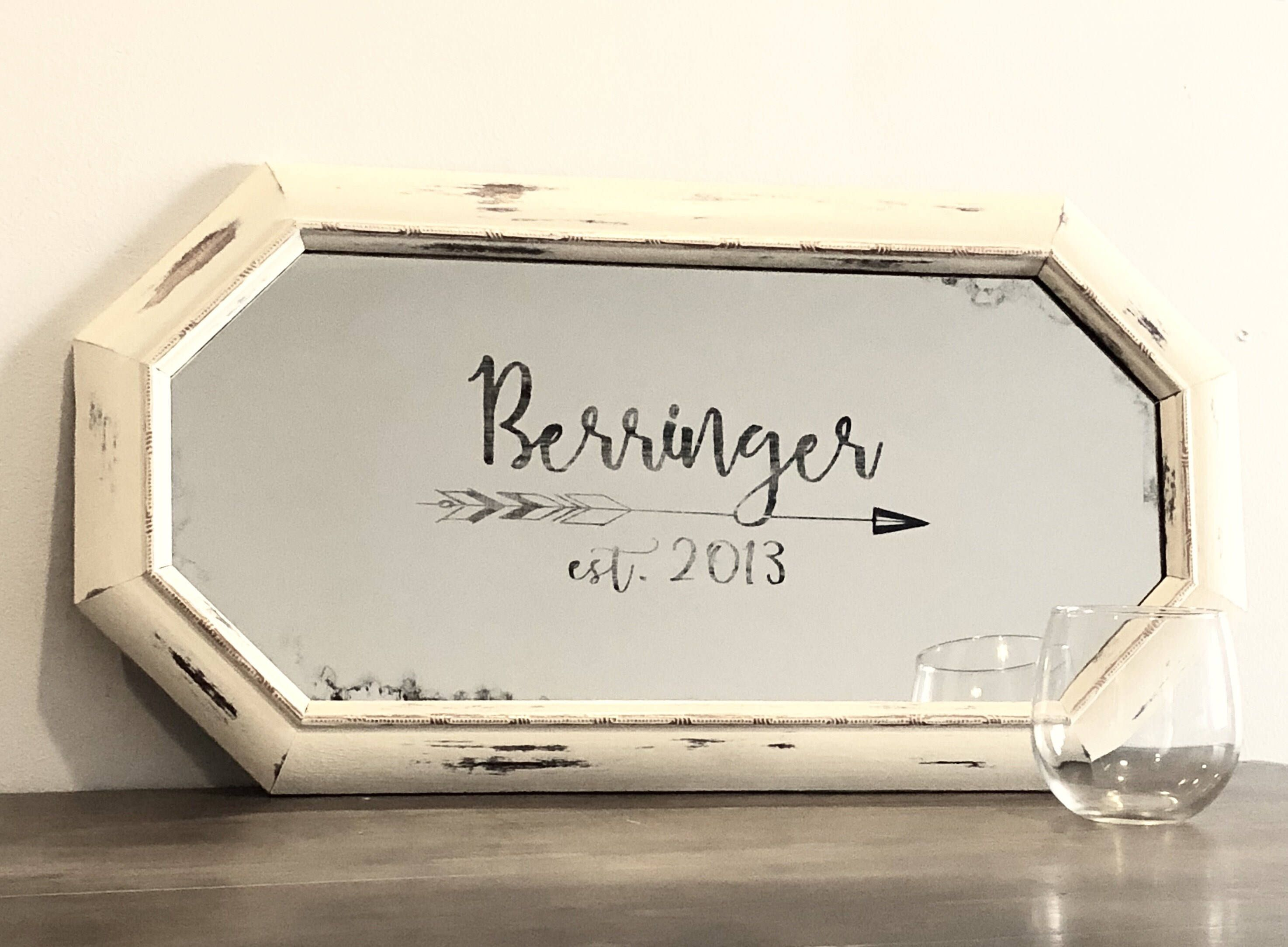 Personalized Family Name Sign, Personalized Newlywed Gift, Rustic Mirror, Family
