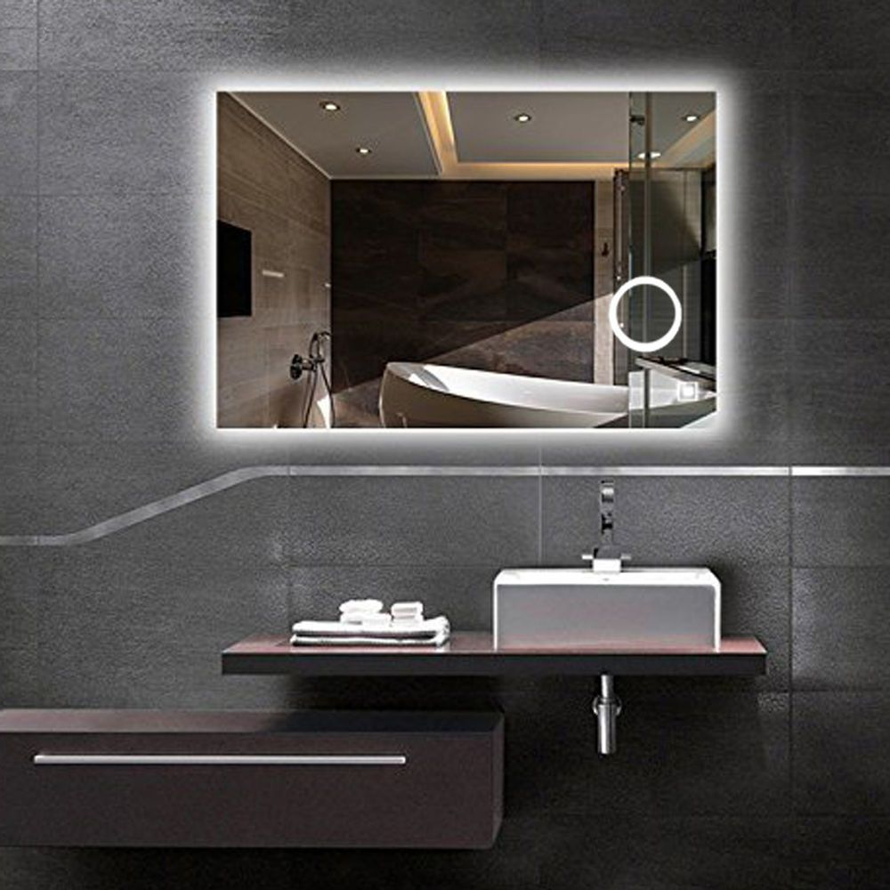 Diffuser Led Wall Mount Backlit Bathroom Mirror Vanity Square Touch Light Mirror Luvovi Backlit Bathroom Mirror Backlit Mirror Led Mirror Bathroom