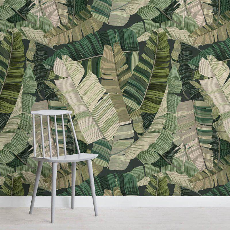 3D Tropical Camo Leaf Wallpaper