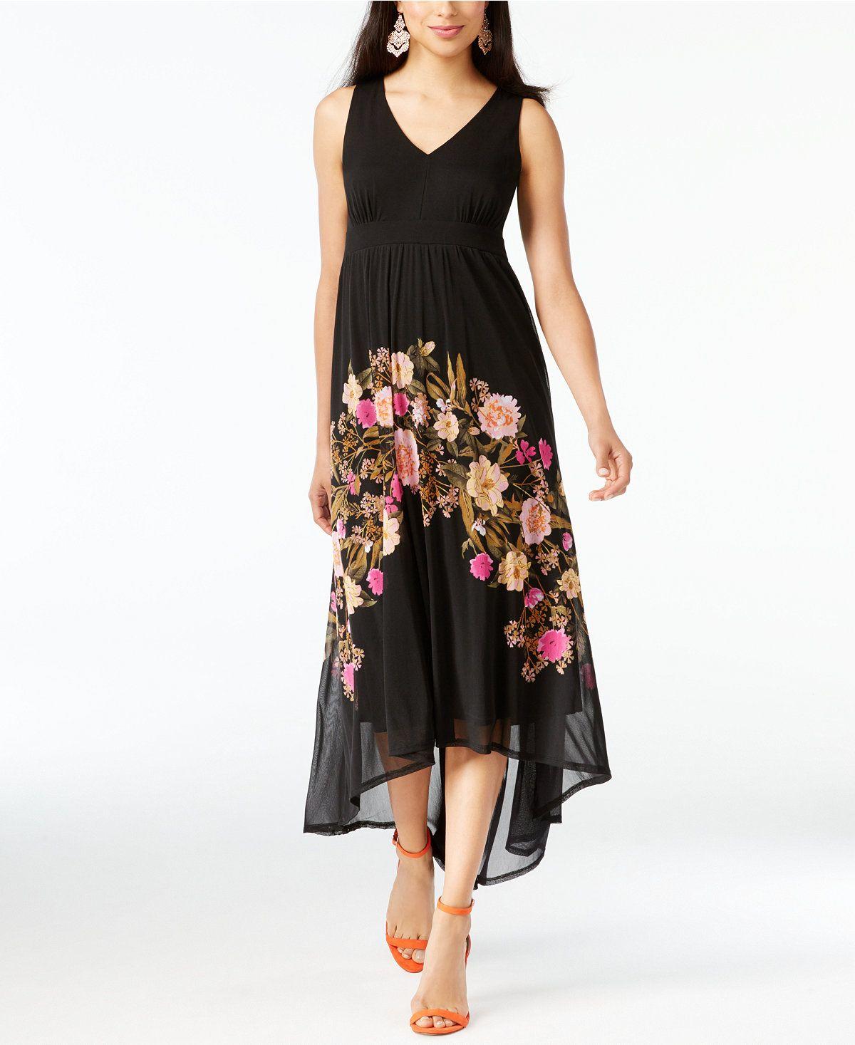INC International Concepts Petite Floral High-Low Maxi Dress