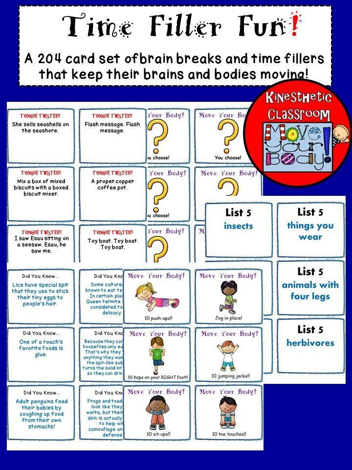 Brain Breaks Task Cards Task Cards Brain Breaks Task Cards Middle School