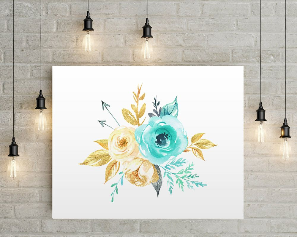 Flowers and arrows floral print aqua gold flowers bedroom decor