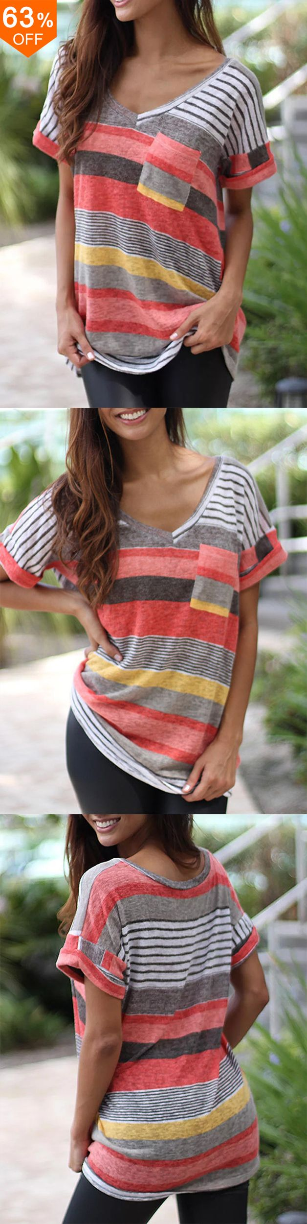 Photo of Casual Patchwork Stripe Short Sleeve T-shirts