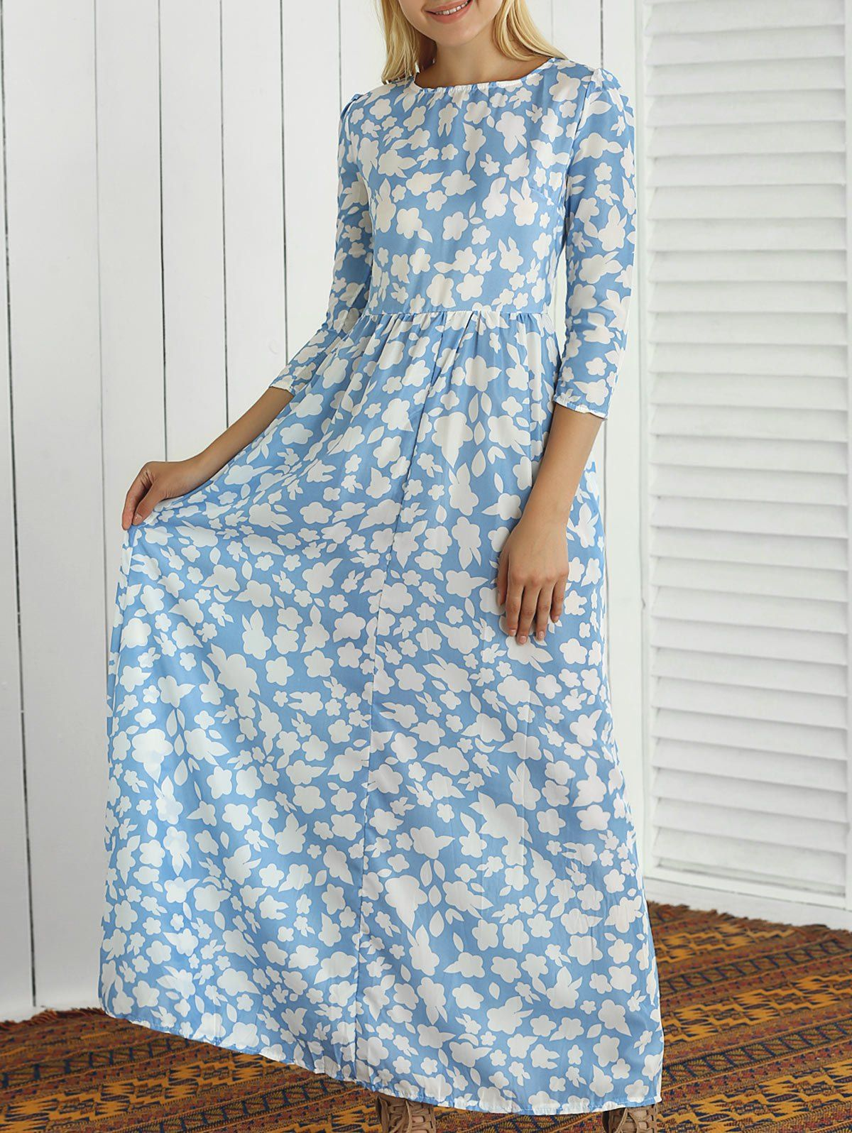$15.16 Floral Print Round Neck Maxi Dress