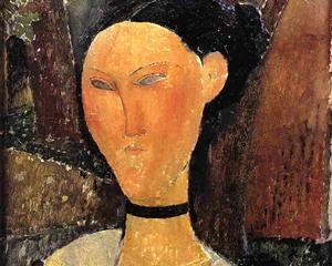 Woman with Velvet Ribbon (The Black Border) - Amedeo Modigliani