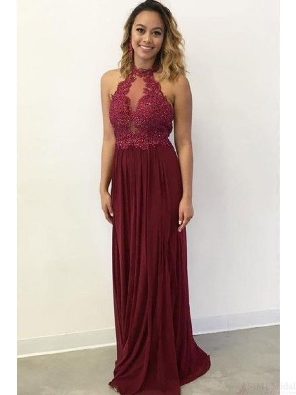 Burgundy Halter Long Chiffon Prom Dresses With Appliqueed2240