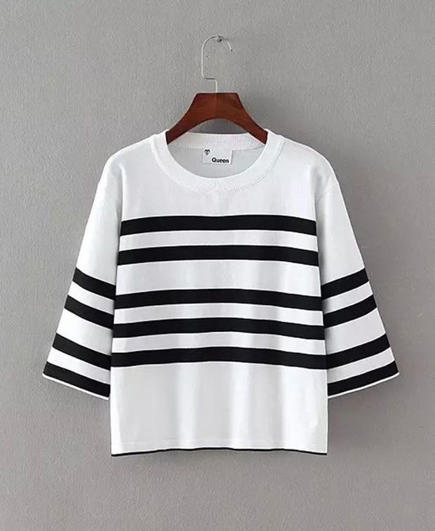 Striped Color Block Half Sleeve Cropped Blouse