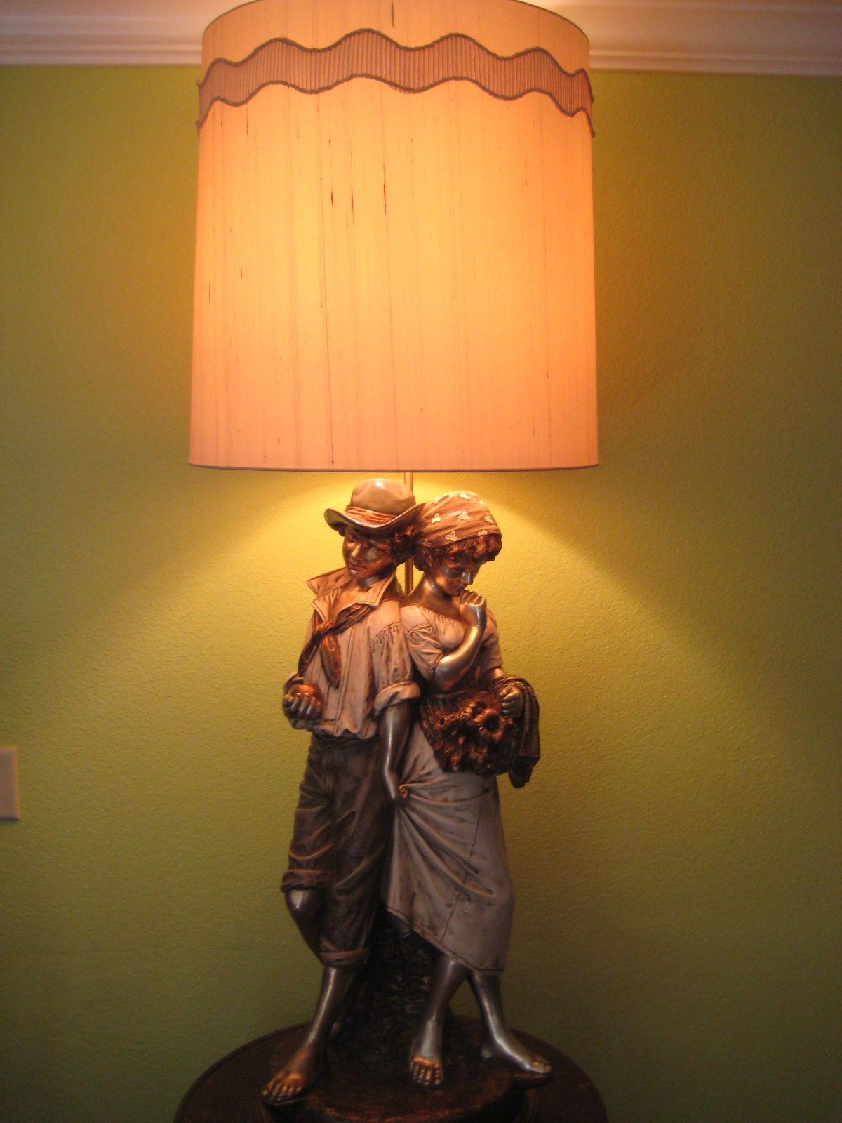 Vintage Huge Marbro Girl & Boy Sculpture Monumental Lamp W